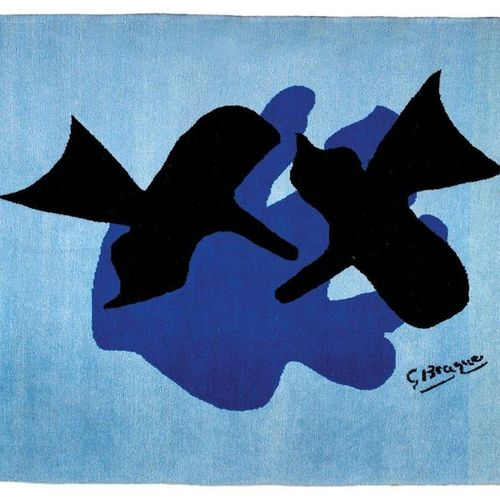 Georges BRAQUE (1882 1963) Pelias and Nélée Wool rug. Signed in the frame lower …
