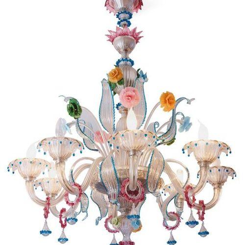"""GALLIANO FERRO (1932 2012) Lampadario """"Rezzonico"""" in vetro bianco trasparente e …"""