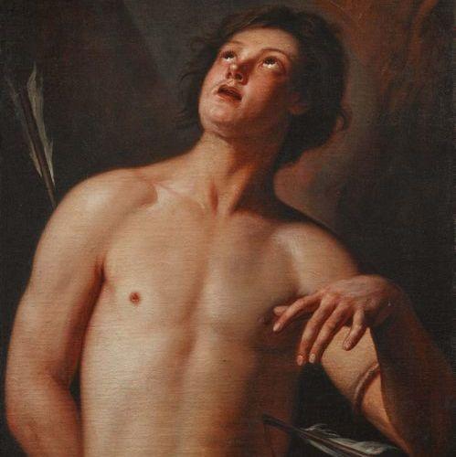 SCUOLA VENETA DELL'INIZIO DEL XVIII SECOLO San Sebastiano Olio su tela (restauri…