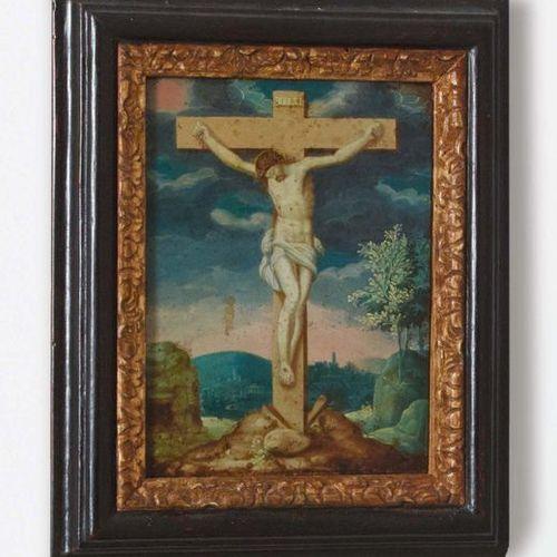 Scuola Italiana del XVII secolo Gesù in croce Olio su rame 17th century Italian …