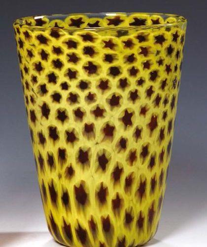 NASON Vaso in vetro bianco trasparente con inclusione di murrine gialle e ruggin…