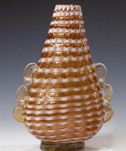 Ercole Barovier (1889 1974) Piriform vaso in vetro aventurina con inclusioni di …
