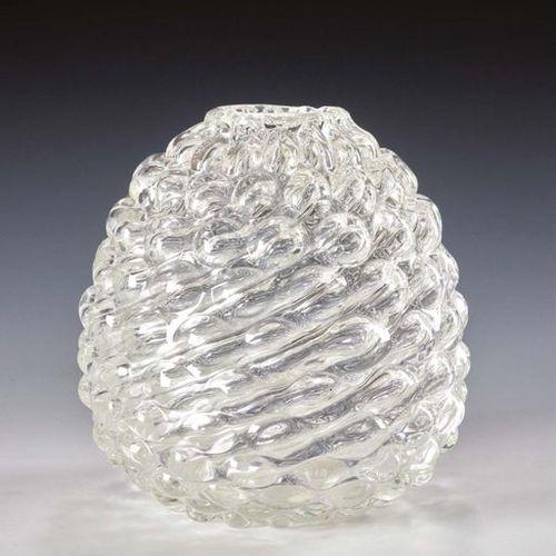 Ercole Barovier Vaso ovoidale della serie Lenti, in cristallo bianco trasparente…