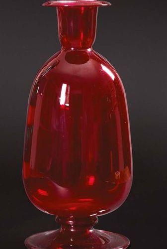 VITTORIO ZECCHIN (S.A.L.I.R.) Vaso in vetro rosso rubino trasparente Ruby red tr…