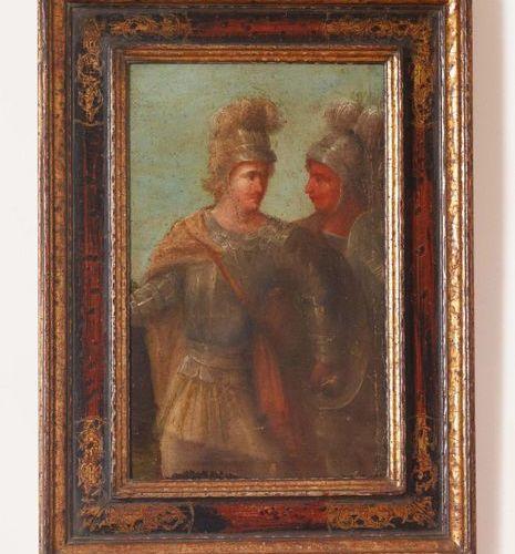 Scuola Italiana del XVII secolo Due armigeri Olio su tela (frammento, restauri) …