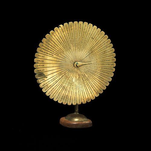 A rare Omer calendar, brass on wooden base. The Netherlands, circa 1800 The 49 d…