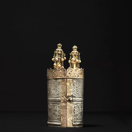 A rare silver and low grade gold Esther Scroll case with miniature rimonim in 18…