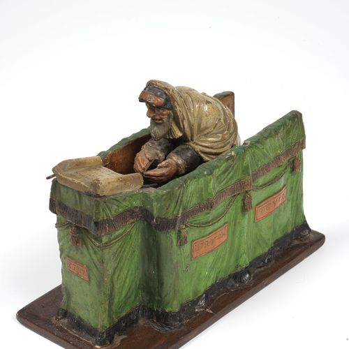 A rabbi reading the Torah, plaster sculpture in polychrome paint Alsace, early 1…