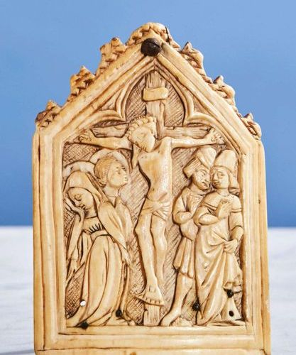Ivory Kiss of Peace carved in the shape of a gable representing the Crucifixion …
