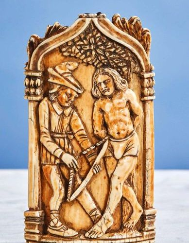Ivory Kiss of Peace carved with the martyrdom of Saint Sebastian. Under a bow in…