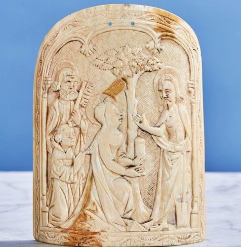 Large carved ivory Kiss of Peace representing Noli me tangere with Saint Peter a…