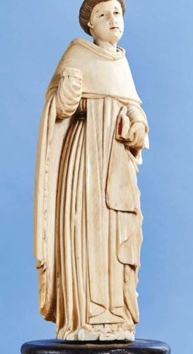 Ivory Saint Monk carved in the round with polychrome highlights. Indo Portuguese…