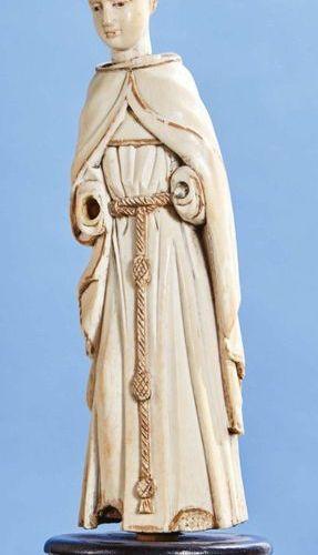 Saint Moine (saint François ?) en ivoire sculpté en ronde bosse avec rehauts d'o…