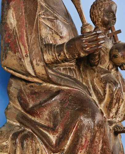 Important Virgin and Child in oak carved with polychrome remains, hollowed back.…