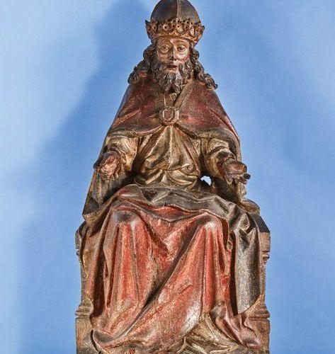 Dieu le Père d'un Trône de Grâce en chêne sculpté, polychromé et doré, dos évidé…
