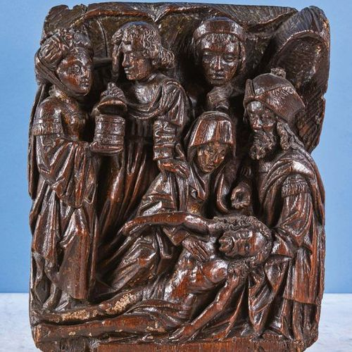 The Deposition of Christ in oak carved in high relief with traces of polychromy,…