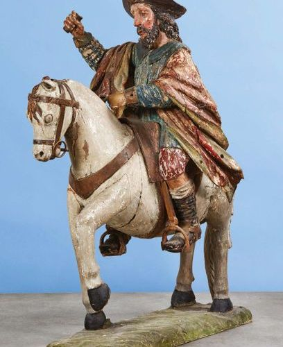 Important Saint James on horseback carved in the round and polychrome, sculpture…