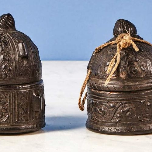 Set of two pyxide boxes: Wooden core box covered with embossed leather decorated…