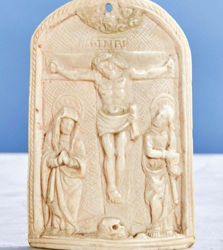 Ivory Kiss of Peace carved in a curved shape representing the Crucifixion framed…