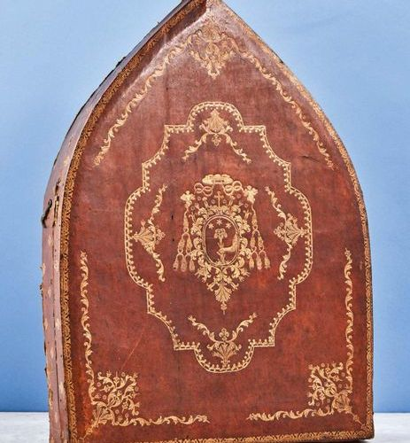 Mitre case, wooden core covered with leather gilded with a small iron decorated …