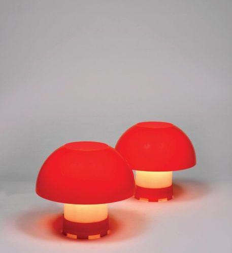 ANTON SCHRODER (XXe siècle) A pair of table lamps by Anton Schroder in orange an…