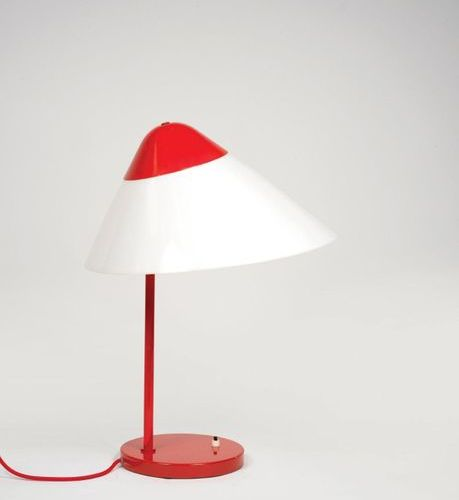 Hans J. Wegner (1914 2007) An « Opala » lamp by Hans J. Wegner in red lacquered …