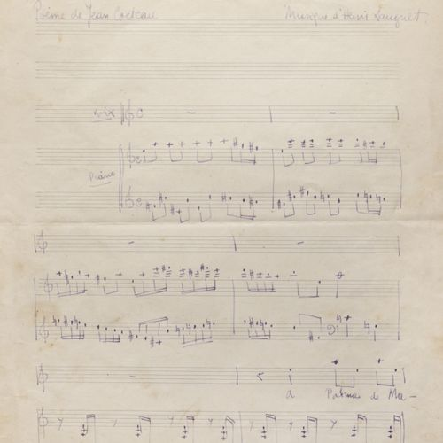 "HENRI SAUGUET (1901 1989). Autograph manuscript of the melody ""Iles"", an early a…"