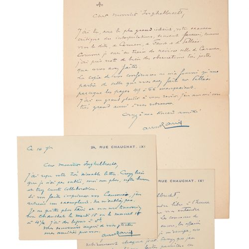 AURIC (Georges). Set of 3 letters addressed to Colette Steinlen. 1952. 3 autogra…