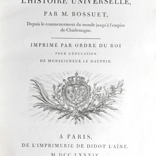 BOSSUET (Jacques Bénigne). Discourse on universal history, from the beginning of…