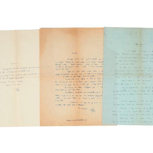 BOULEZ (Pierre). Set of 3 letters. 2 autograph letters signed to Roger Désormièr…