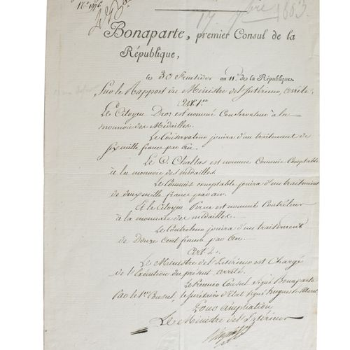 CHAPTAL (Jean Antoine). Deed of appointment signed. Without place, 30 fructidor …