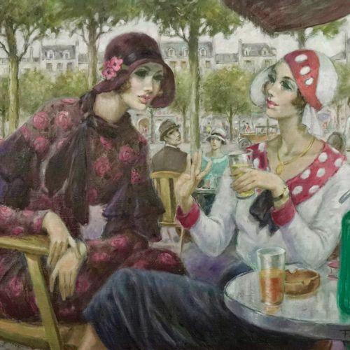 François BATET (né en 1923) Confidence  Oil on canvas.  Signed lower right.  Tit…