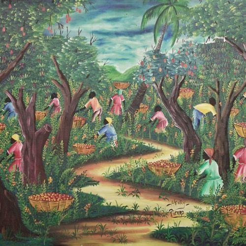 HENRY Pierre (né en 1924) The harvest  Oil on canvas.  Signed lower right.  H_61…