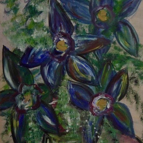 Beris Blue flowers, 1975  Gouache on paper.  Signed lower left.  H_48 cm L_31 cm…