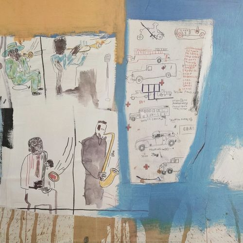 Reproduction on panel of a work of Jean Michel Basquiat  H_60 cm W_79 cm    Offe…