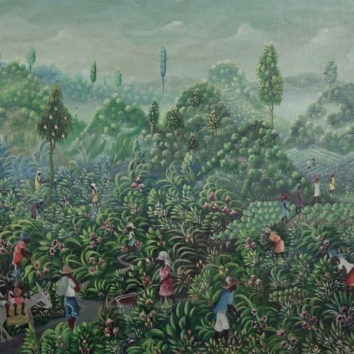 Edgar Brierre (né en 1933)) The harvest  Oil on canvas  Signed lower right.  H_6…