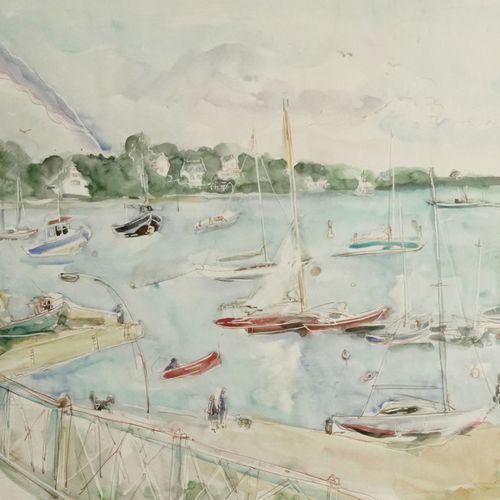 ECOLE FRANCAISE DU XXème siècle Trinity by the sea, 1987  Watercolor on paper  S…