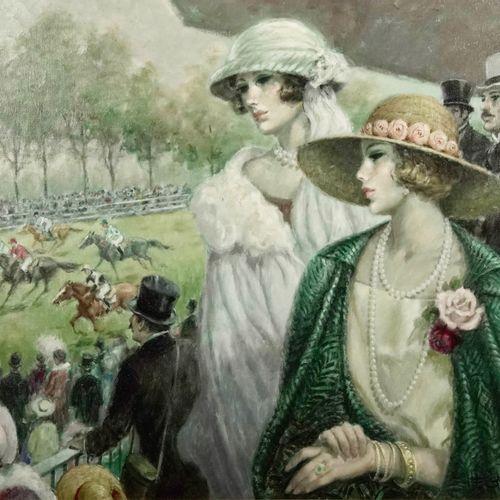 François BATET (né en 1923) At the races  Oil on canvas.  Signed lower right.  S…