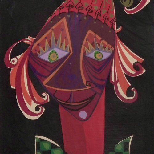 École contemporaine Portrait of a clown  Gouache on paper.  H_48.5 cm W_32 cm   …
