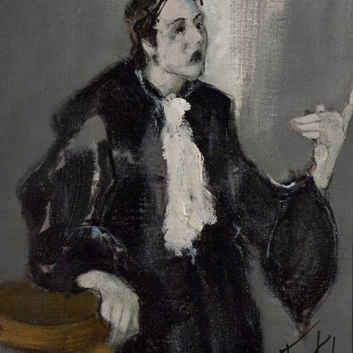 L. FRANCK (né en 1944) The plea  Oil on canvas.  Signed lower right.  H_35 cm W_…