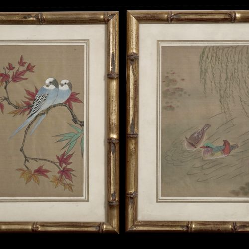 Bearing a stamp representing birds.  H_18 cm W_12 cm (each)    Given by the Hoff…