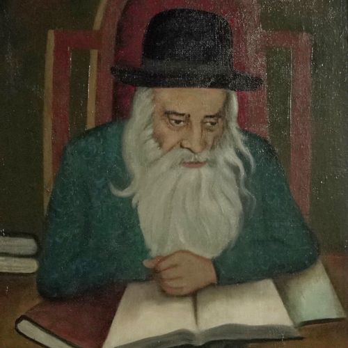 Friedmann Rabbi at the study  Oil on canvas.  Signed lower right.  H_72 cm W_53 …