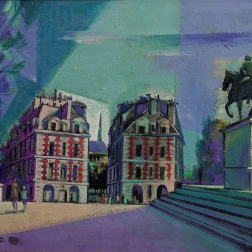 Marcel Chassard Place Dauphine  Oil on canvas  Signed lower right.  Signed and t…