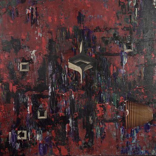 École contemporaine Untitled  Collage and oil on canvas.  H_81 cm 100_cm    Offe…