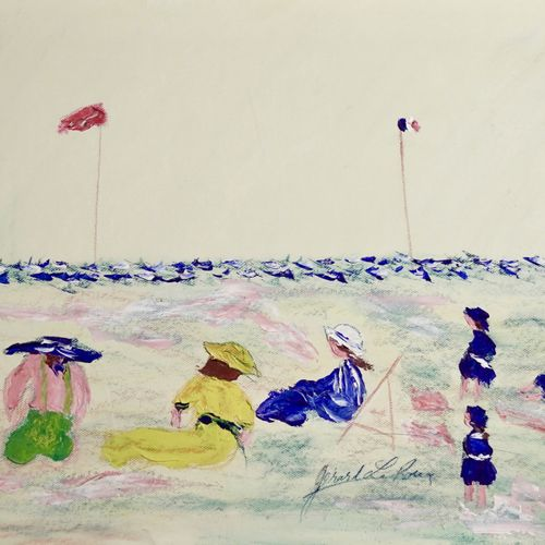 Gérard LE ROUX The Beach  Oil on paper.  Signed lower right.  H_59 cm W_72 cm   …