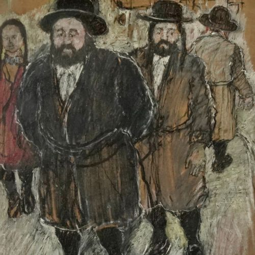 David AZUZ (Né en 1942) Mea Sharim, 1977  Gouache and charcoal on paper.  Signed…