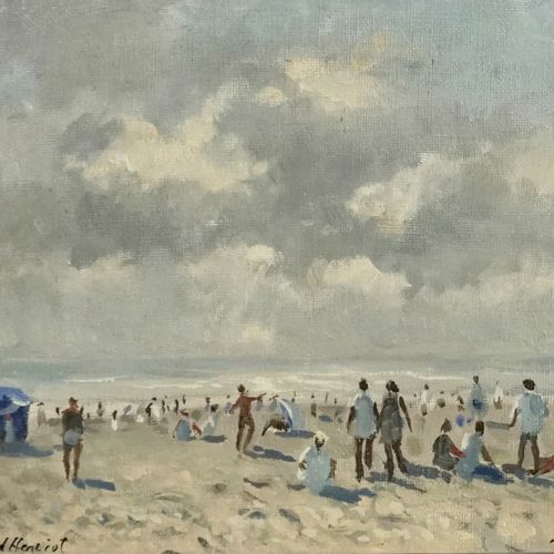 J. Durand Henriot Trouville, Beach at night  Oil on canvas.  Signed lower left. …