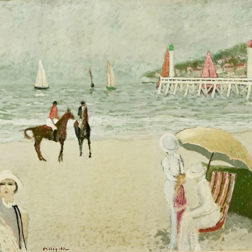 Ramon DILLEY (né en 1933) Sailboats in Deauville, 1987  Oil on canvas.  Signed a…