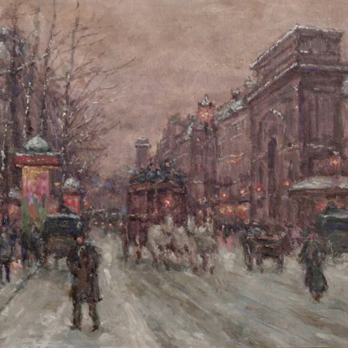 Boyer The Faubourg  Oil on canvas.  Signed lower left.  H_33 cm W_46 cm    Offer…