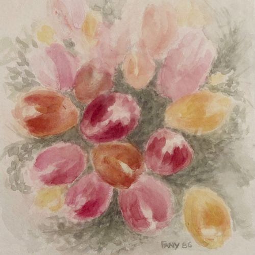 Fany Royal Tulips, 1986  Watercolor on paper.  Signed and dated lower right.  H_…